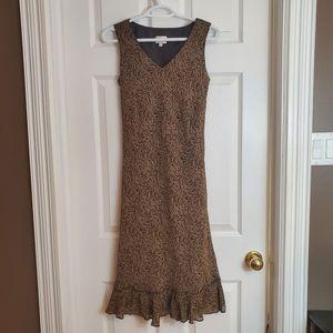 Vintage brown floral print 90s Cleo Petites sheath cottagecore dress 6P small